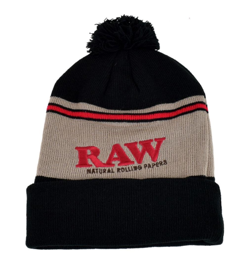 Raw Pompom Hat Black-Brown