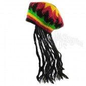 Jamaican Rasta Hat with Fake Dread