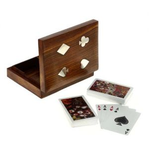 "Wooden Brass Inlay Card Box 3"" x 4"""