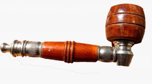 """Wood And Chrome Kit Pipe Light Wood With Barrel Bowl 4"""""""