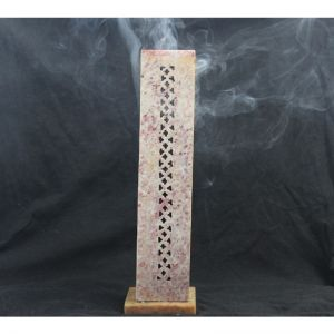 "Soap Stone Carved Incense Tower square 10"" x 3"""