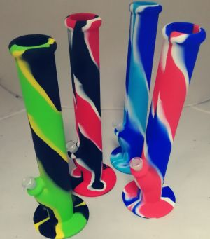 Unsmashable tall 36cm Silicone Bong  bold assorted pattern