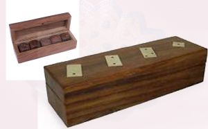 Wooden Dice Box with 5 Individual Dice Inside